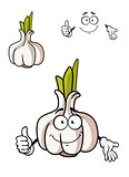 Cartoon whole fresh garlic bulb