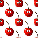 Seamless pattern of cartoon cherries