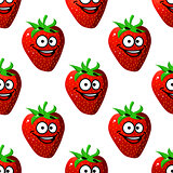 Seamless pattern of a happy ripe red strawberry