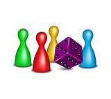 Board game figures with purple dice