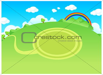 Green landscape and circle path