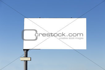 Blank billboard on blue sky background