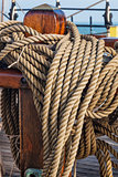 coiled ropes on a sail ship