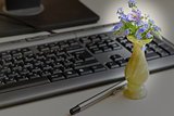 flowers and a keyboard