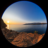 sunrise at sea. Fisheye lens image
