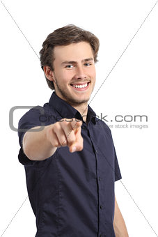 Handsome happy young man pointing at camera