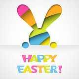 Happy easter card with bunny and font on white paper background