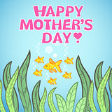 Greeting card design with fish for Mother's Day