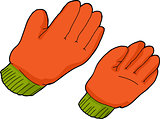 Orange Work Gloves