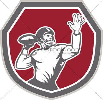American Football Quarterback Throw Ball Shield Retro