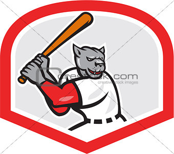 Black Panther Baseball Player Batting Cartoon