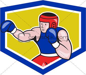 Amateur Boxer Boxing Shield Cartoon