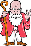 Bearded Old Man Staff Peace Sign Cartoon