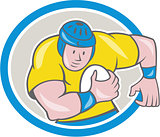 Rugby Player Running Charging Circle Cartoon