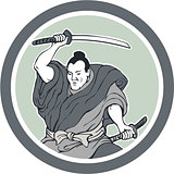 Samurai Warrior Wielding Katana Sword Circle