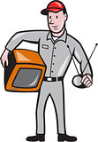 TV Repairman Technician Cartoon