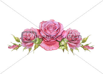 Watercolor horizontal vignette of roses