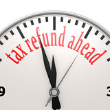 Tax refund ahead clock