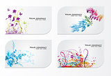 Set of abstract colorful floral gift cards