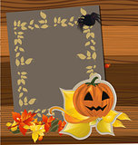 paper and autumn leaves. Vector illustration