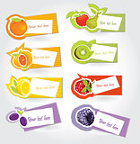 Vector fruit sticker set