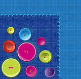 Needle, button, thread background
