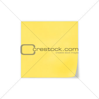 close up of a yellow note paper on white background