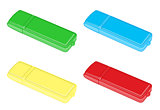 red, yellow , blue and green flash drive