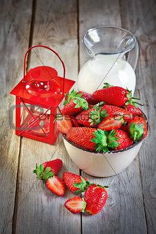 Strawberry, milk and lantern