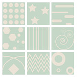 9 Retro different seamless patterns