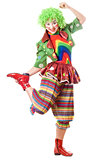 Joyful posing female clown