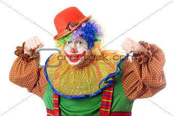 Portrait of an aggressive clown