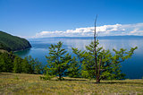 View of Lake Baikal from a high steep bank.