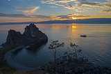 Shaman Rock at sunset. Olkhon Island, Baikal, Russia.