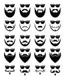 Beard and sunglasses, hipster icons set