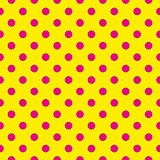 Tile vector pattern with big pink polka dots on a sunny yellow background.