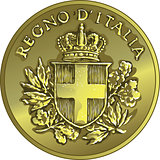vector money gold italian coin twenty Centesimo