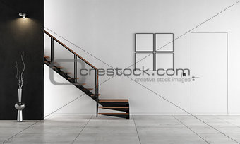 Minimalist living room with staircase - rendering
