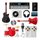 Set of music and sound objects isolated on white
