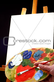 palette,  canvas and easel
