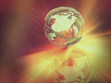 Abstract globe with retro vintage effect