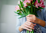 Holding bouquet