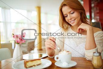 Having dessert