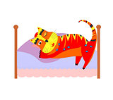 bed with sleeping cat art illustration cute