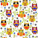 Seamless colourfull owl pattern for kids in vector art