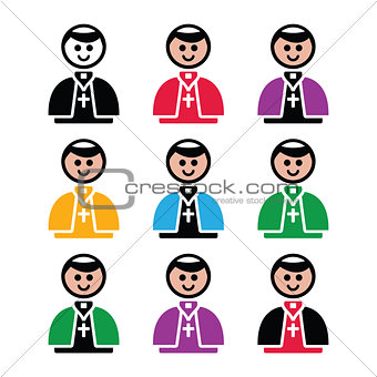 Catholic church pope vector icon set