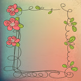 Stylish floral background, hand drawn retro flowers and birds