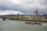 Portland City Skyline Along Willamette River