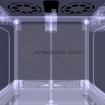 3d printer. X-ray render