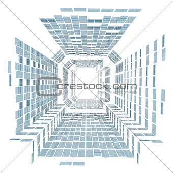 Abstract skyscraper consisting of blue planes
